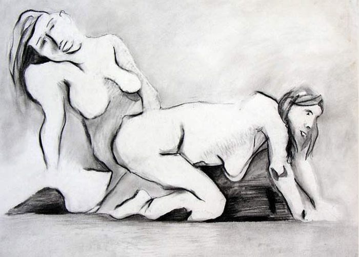 Charcoal Greeting Card featuring the drawing Erotica by Brad Wilson