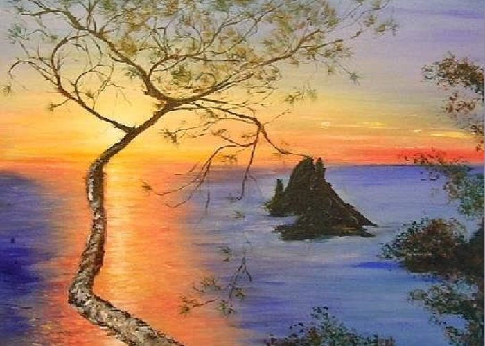 Sunset Greeting Card featuring the painting Es Vedra Island Off Ibiza South Coast by Lizzy Forrester