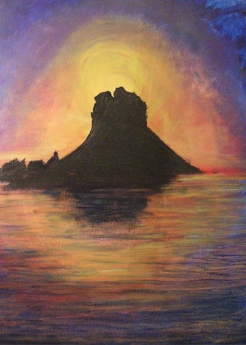 Sunset Greeting Card featuring the painting Es Vedra Sunset I by Lizzy Forrester