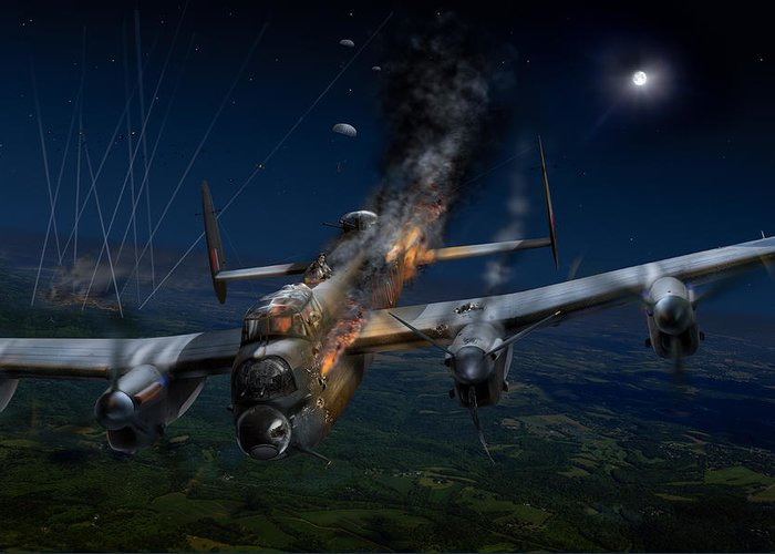 Avro Lancaster Greeting Card featuring the digital art Escape At Mailly by Gary Eason