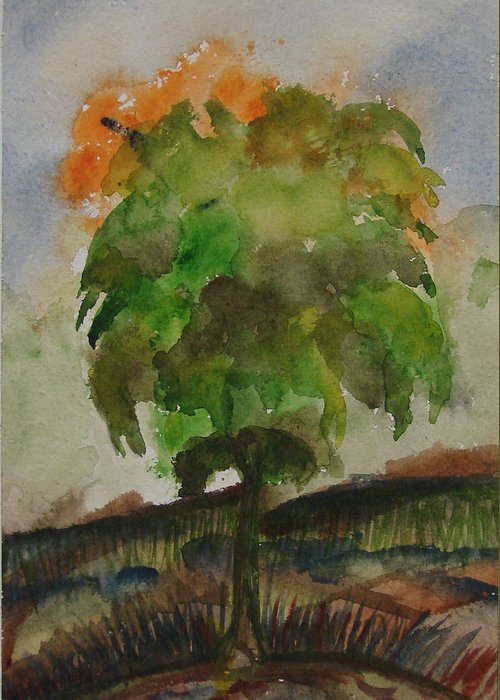 Tree Greeting Card featuring the painting Esoteric Tree by Aim to be Aimless