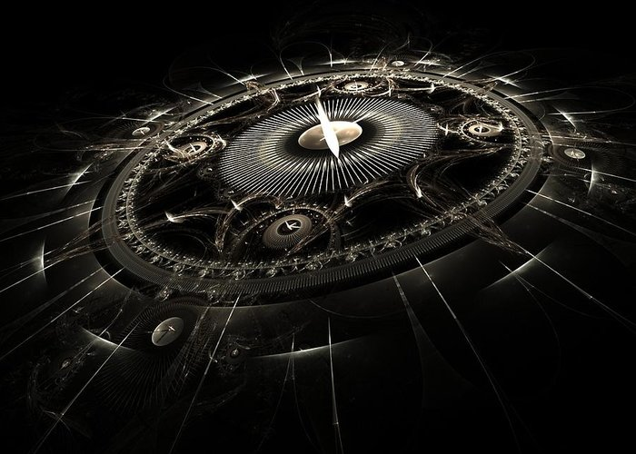 Fractal Greeting Card featuring the digital art Essence Of Time by Richard Ortolano