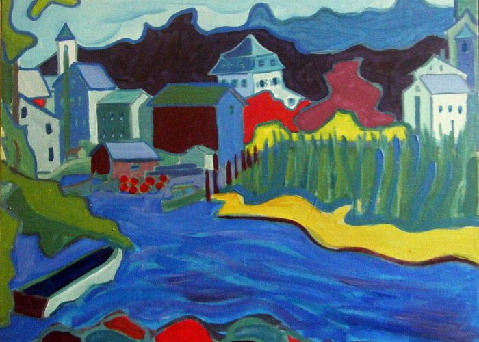 Essex River Greeting Card featuring the painting Essex River by Debra Bretton Robinson