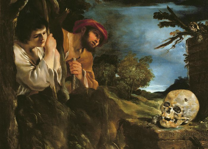 Latin Greeting Card featuring the painting Et In Arcadia Ego by Giovanni Francesco Barbieri