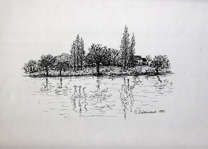 Landscape Greeting Card featuring the drawing Etang by Muriel Dolemieux