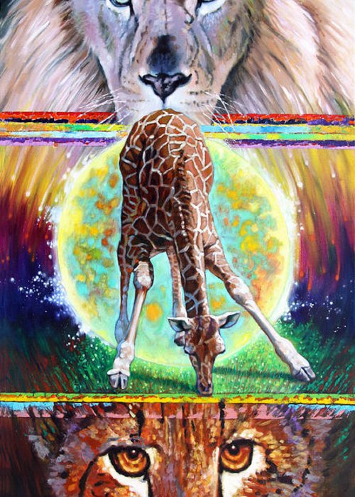 Lion Greeting Card featuring the painting Eternal Nature Of Our Universe by John Lautermilch