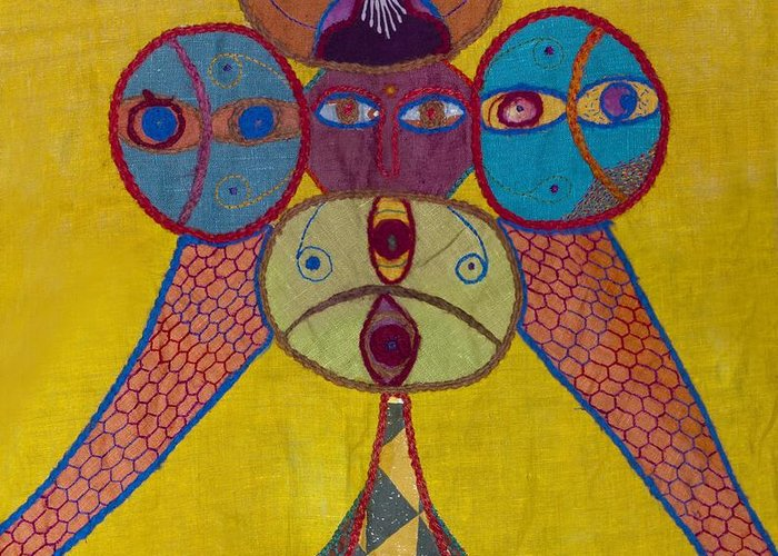 Ethnic Greeting Card featuring the tapestry - textile Ethiopian Ornament by Sonja Yunda