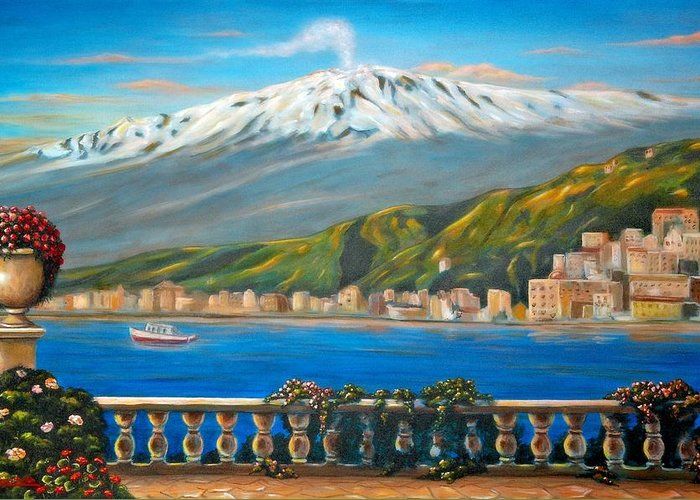 Angelica Dichiara Greeting Card featuring the painting Etna Sicily by Italian Art