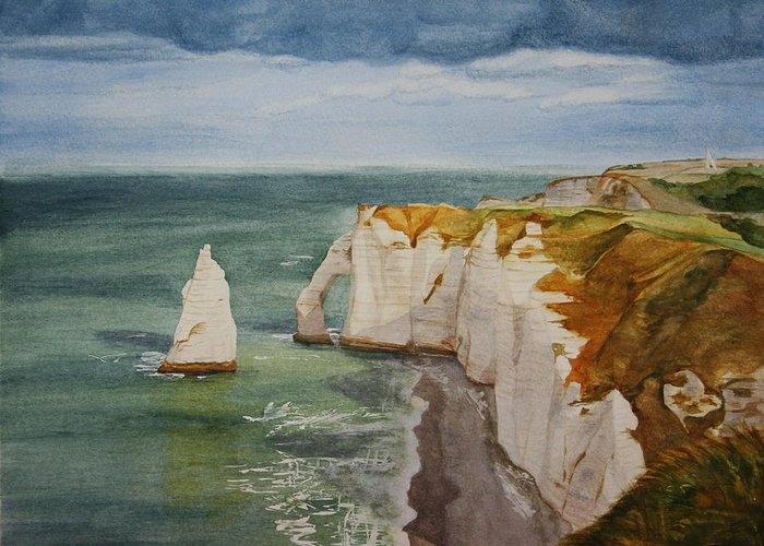 Seascape Greeting Card featuring the painting Etretat by Monika Degan