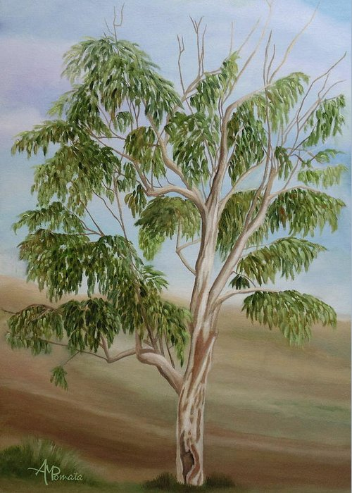 Eucalyptus Greeting Card featuring the painting Eucalyptus by Angeles M Pomata