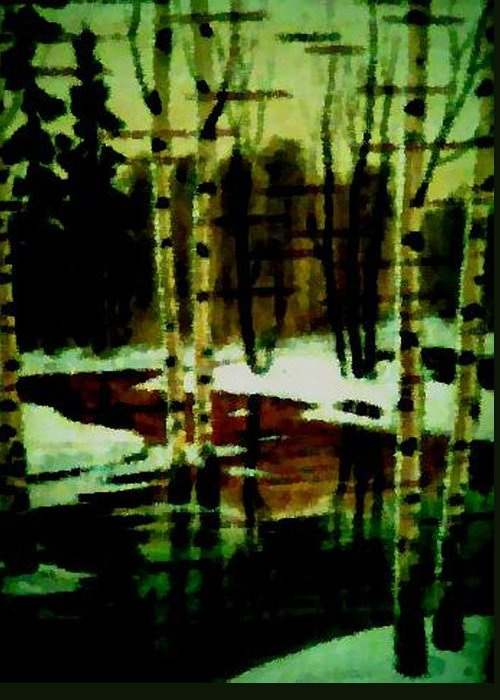 Sprig.forest.snow.water.trees.birches. Puddles.sky.reflection. Greeting Card featuring the digital art European Spring by Dr Loifer Vladimir