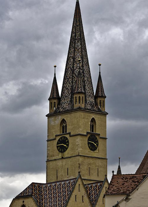Ancient Greeting Card featuring the photograph Evangelical Cathrdral Sibiu Romania tower clock by Adrian Bud