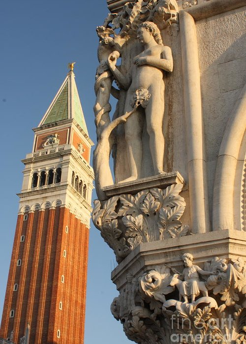 Venice Greeting Card featuring the photograph Eve And Bell Tower In Venice At San Marco by Michael Henderson