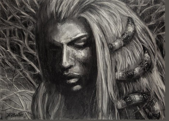 Charcoal Of Woman Greeting Card featuring the drawing Eve by Jason Reinhardt