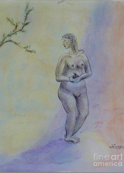 Woman Greeting Card featuring the pastel Eve by Ushangi Kumelashvili