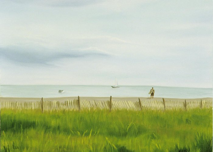 Seascape Greeting Card featuring the painting Evening At Cape May by Lea Novak