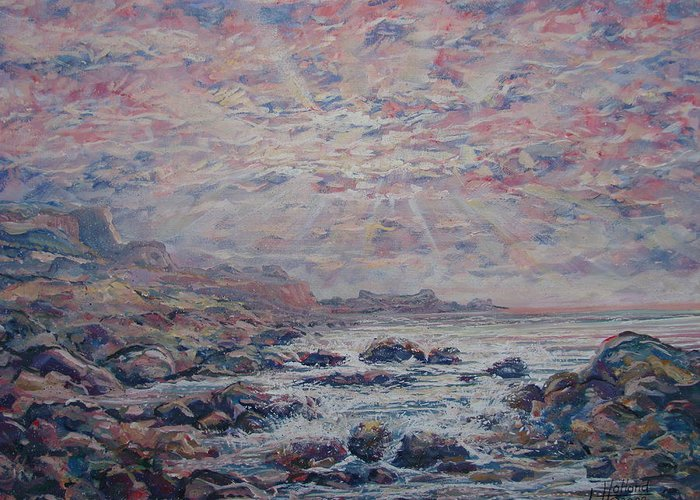 Seascape Greeting Card featuring the painting Evening at the Beach by Leonard Holland