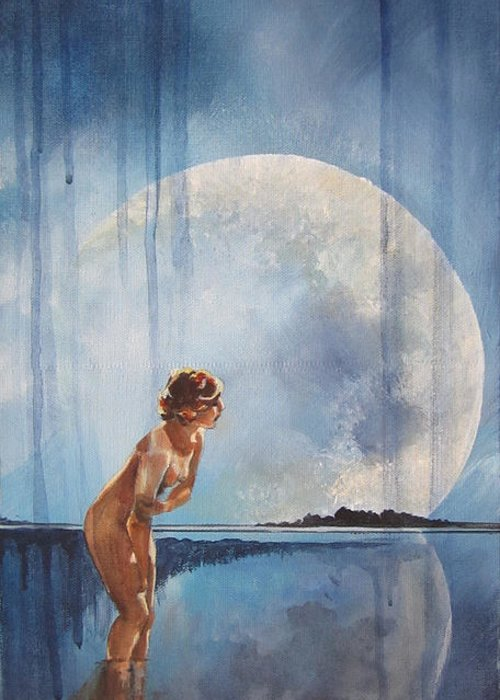 Navy Blue Lady Bathing Moon Reflection Landscape Nude Greeting Card featuring the painting Evening Bath by Karen Schmitt