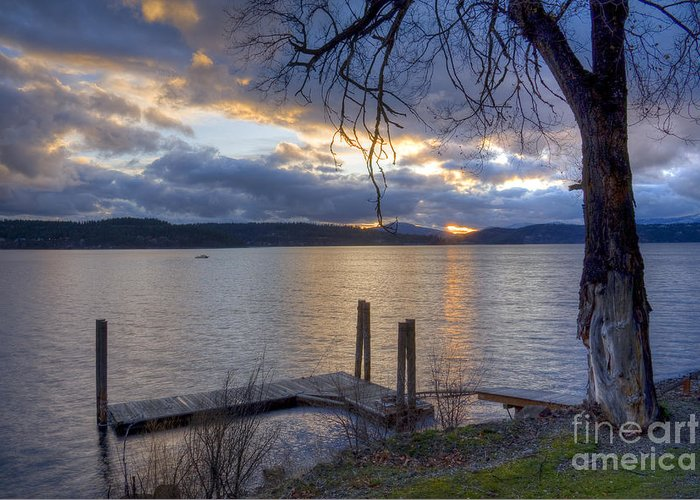 Dock Greeting Card featuring the photograph Evening Blues by Idaho Scenic Images Linda Lantzy