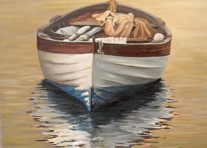 Boats Reflection Seascape Water Greeting Card featuring the painting Evening Boat by Natalia Tejera