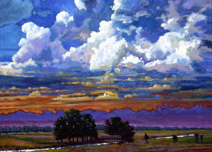 Landscape Greeting Card featuring the painting Evening Clouds Over The Prairie by John Lautermilch