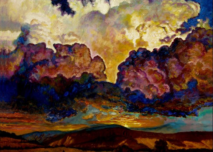 Sunset Greeting Card featuring the painting Evening Clouds Over The Valley by John Lautermilch