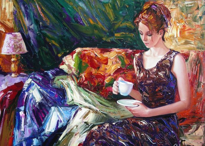 Figurative Greeting Card featuring the painting Evening Coffee by Sergey Ignatenko