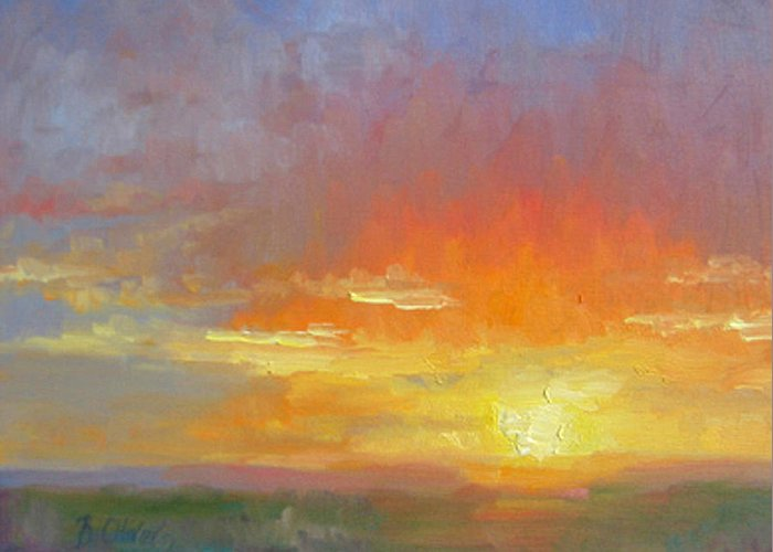 Sunset Greeting Card featuring the painting Evening Drama by Bunny Oliver