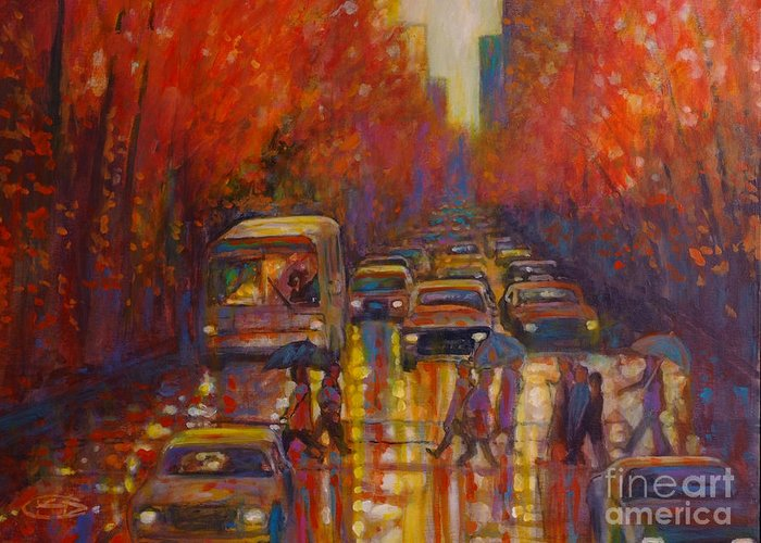 City Greeting Card featuring the painting Evening Drizzle by Kip Decker