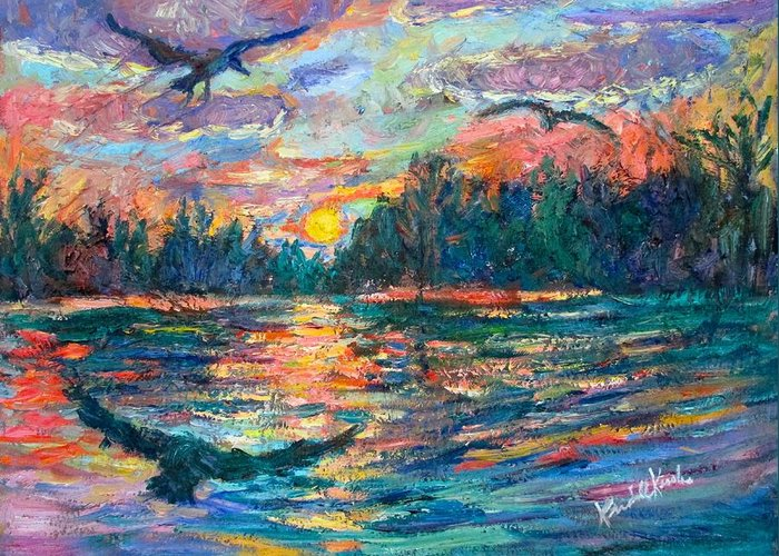 Landscape Greeting Card featuring the painting Evening Flight by Kendall Kessler