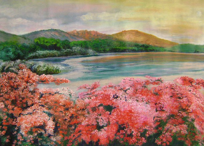 Floral Greeting Card featuring the painting Evening Flowers by Lian Zhen