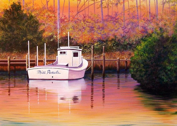 Landscape Greeting Card featuring the painting Evening Glow by Hugh Harris