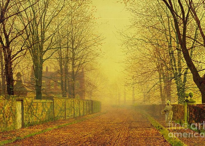 The Fall Greeting Card featuring the painting Evening Glow by John Atkinson Grimshaw