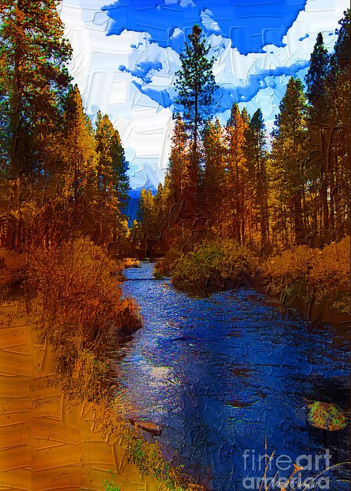 Diane Berry Greeting Card featuring the painting Evening Hatch On The Metolius Painting by Diane E Berry