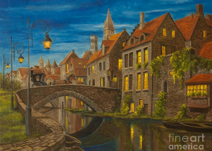 Bruges Belgium Art Greeting Card featuring the painting Evening In Brugge by Charlotte Blanchard