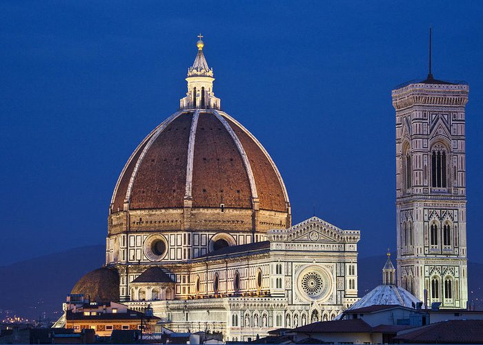 Above Greeting Card featuring the photograph Evening In Florence by Eggers Photography