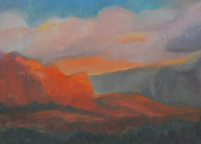 Landscape Greeting Card featuring the painting Evening In Sedona by Stephanie Allison