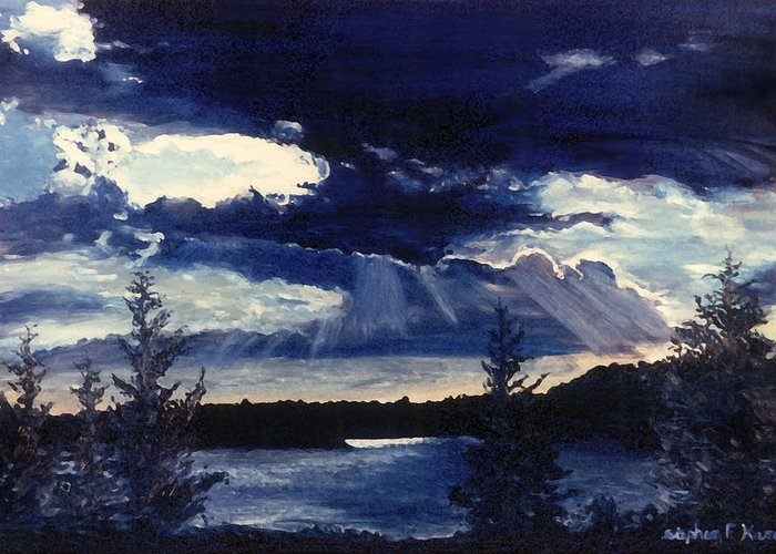 Landscape Greeting Card featuring the painting Evening Lake by Steve Karol