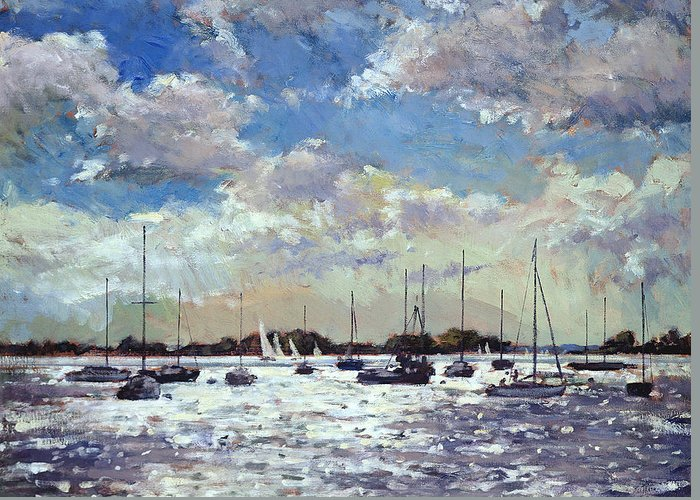 Twilight; Dusk; Romantic; Sailboat; Sail; Boat; Yacht; Sea; Marine; Sunlight; Coast; Coastal; Mooring; North-west France; Bay Of Biscay; Sailing; Clouds; Sky; France Greeting Card featuring the painting Evening Light - Gulf Of Morbihan by Christopher Glanville