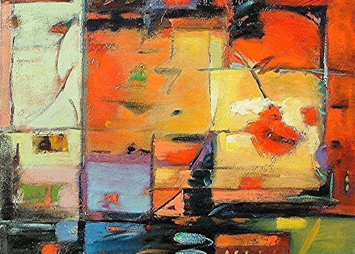 Abstract Painting Greeting Card featuring the painting Evening Light by Gary Coleman