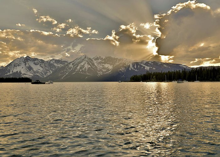 Evening Light On Jackson Lake Grand Teton Greeting Card featuring the photograph Evening Light On Jackson Lake Grand Teton by Dan Sproul