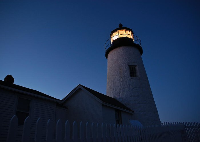 Lighthouse Greeting Card featuring the photograph Evening Lighthouse Pemequid Point Me by Richard Danek