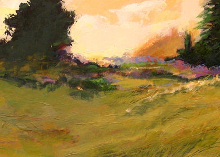 Landscape Greeting Card featuring the painting Evening Meadow by Dale Witherow