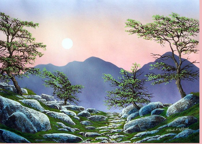 Evening Moonrise Greeting Card featuring the painting Evening Moonrise by Frank Wilson