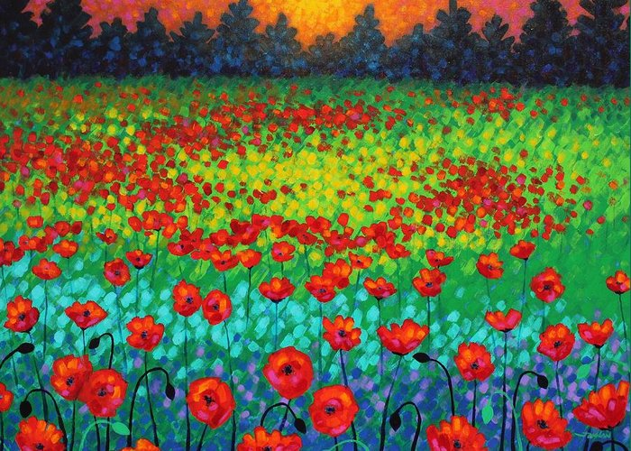 Acrylic Greeting Card featuring the painting Evening Poppies by John Nolan