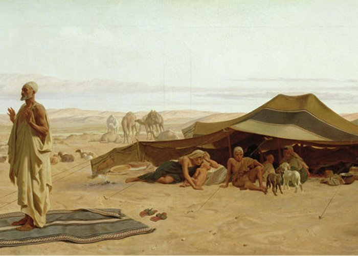 Evening Greeting Card featuring the painting Evening Prayer In The West by Frederick Goodall