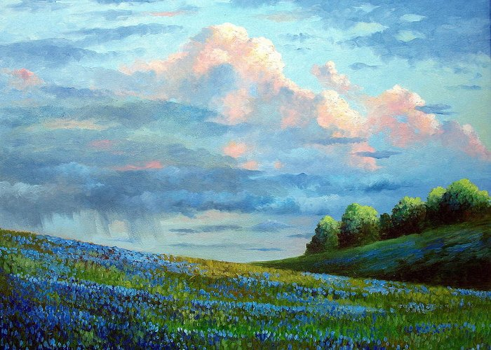 Landscape Greeting Card featuring the painting Evening Rain by David G Paul