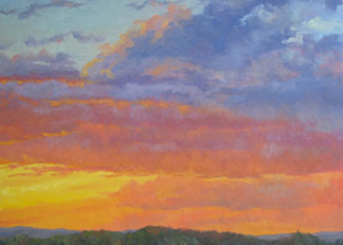 Landscape Greeting Card featuring the painting Evening Reverie by Bunny Oliver