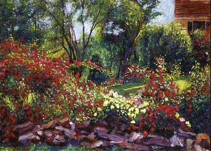 Gardens Greeting Card featuring the painting Evening Roses by David Lloyd Glover