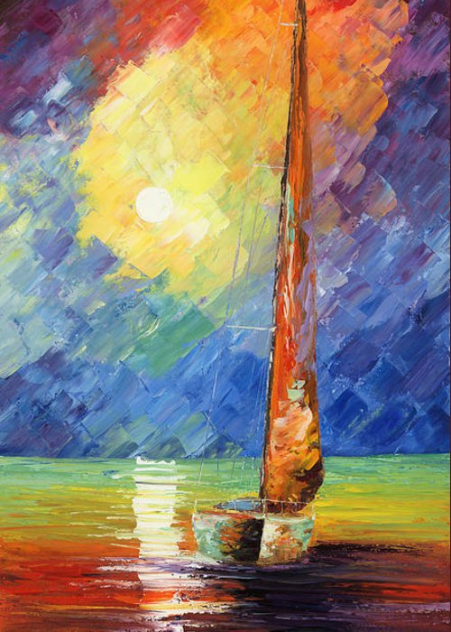 Oil Painting Art Artwork Acrylic Impressionist Impressionism Palette Knife Texture Giclee Print Reproduction Colorful Bright Evening Night Sail Sailing Love Passion Desire Quietness Quiet Reflection Relaxation Relaxed Wild Nature Water Sky Blue Red Yellow Moon Boat Marine Nautical Amor Deseo Passion Agua Azul Rojo Amarillo Luna Bote Marina Nautico Vela Tranquilidad Relajacion Waterscape Fish Fishing Color Colour Colourful Greeting Card featuring the painting Evening Sail by Ash Hussein